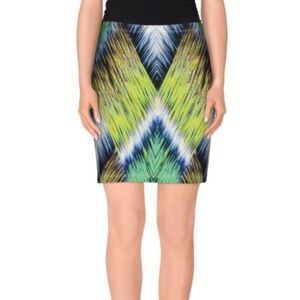 Milly Blue Green Abstract Print mini skirt (S7)